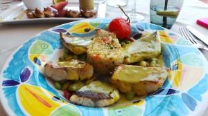 Le duo de vivaneau et dorade, quinoa noisettes, émulsion thé vert matcha