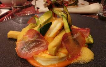 """Gambas sauvages """"Lomo Iberico"""", poivron rouge et huile de piment (41.-)"""