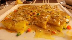 Raviolis de foie gras et sauce à la truffe